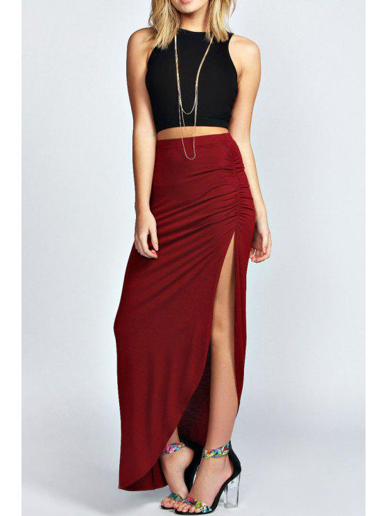 fancy Sleeveless Black Crop Top + Side Slit Skirt Twinset - WINE RED S