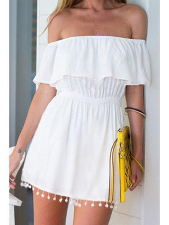 fancy Slash Neck White Elastic-Waisted Dress - WHITE S