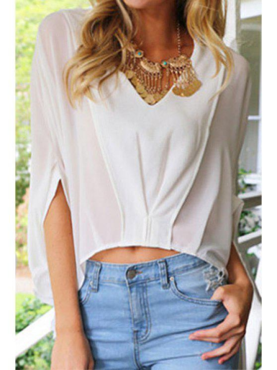 sale Bat-Wing Sleeve Spliced White Blouse - WHITE S