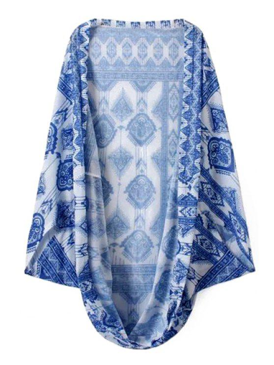 fashion Blue Abstract Print Long Sleeve Blouse - BLUE AND WHITE ONE SIZE(FIT SIZE XS TO M)
