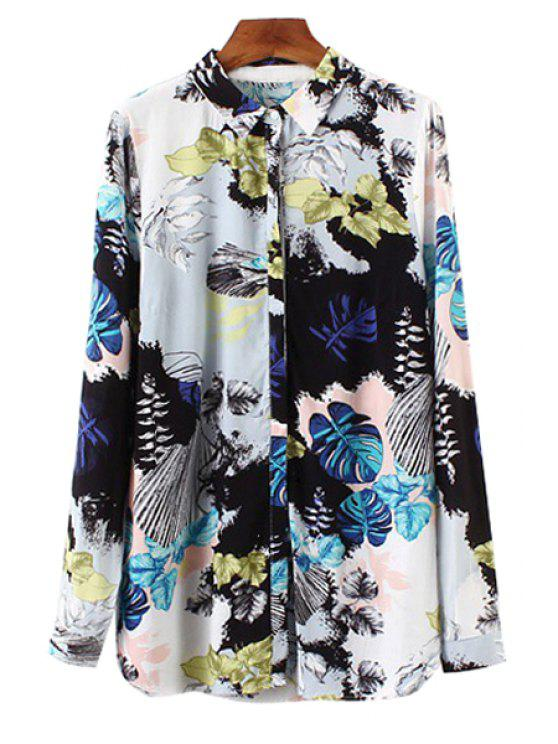 chic Color Block Leaves Print Long Sleeve Shirt - COLORMIX S