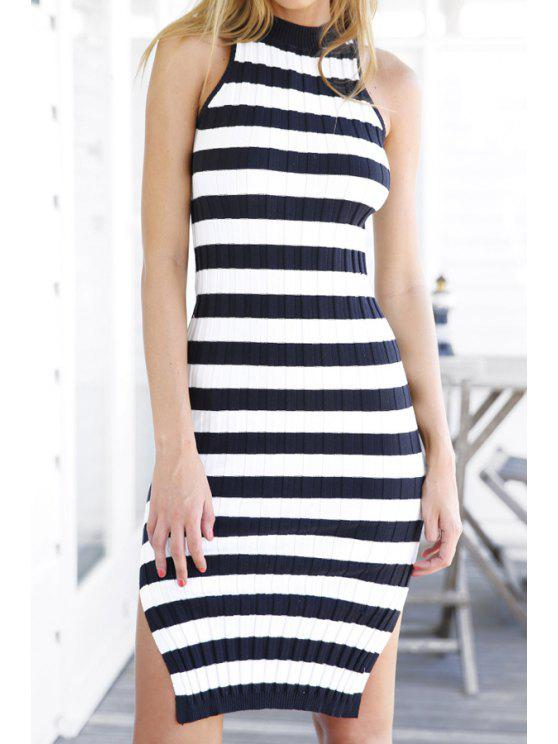 shops Sleeveless Striped Side Slit Sweater Dress - BLUE AND WHITE ONE SIZE(FIT SIZE XS TO M)