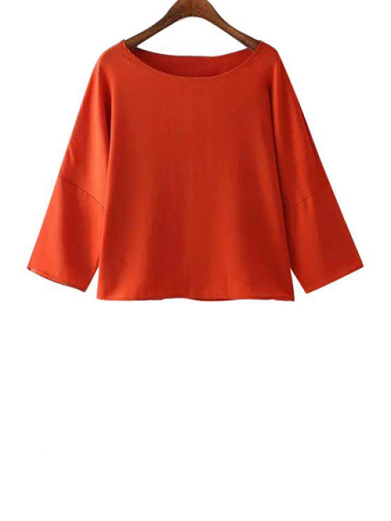 outfits Solid Color Chiffon Long Sleeve T-Shirt - RED S