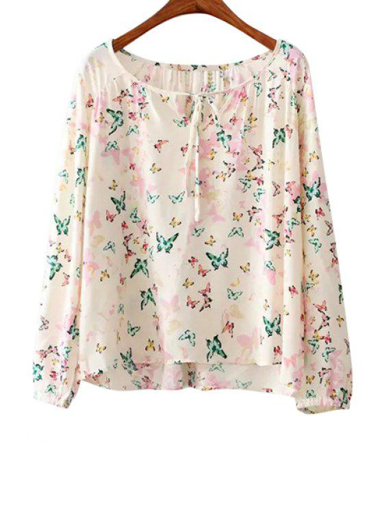 hot Butterfly Print Tie-Up Long Sleeve Blouse - OFF-WHITE S