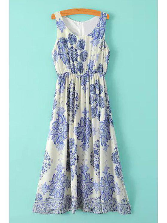 lady Blue Floral Print Ruffle Sleeveless Dress - BLUE AND WHITE S