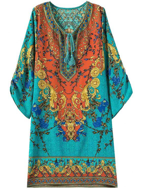 fancy 3/4 Sleeve Retro Print Dress - TURQUOISE M