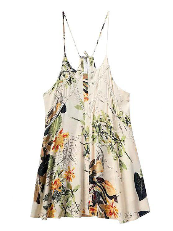 shop Spaghetti Strap Floral Print Lace Back Zipper Dress - COLORMIX S