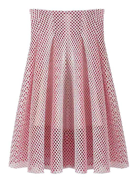affordable Hollow Out High Waisted A-Line Skirt - PINK S