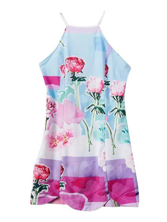 hot Floral Print Spaghetti Strap Cross Dress - AS THE PICTURE S