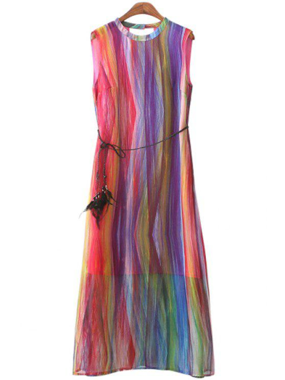 hot Colorful Print Sleeveless Maxi Dress - COLORFUL S