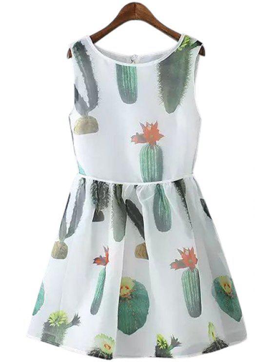 unique Cactus Print A-Line Sundress - WHITE L
