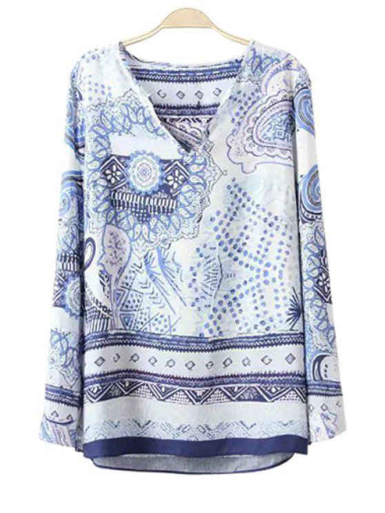 shops Paisley Print V-Neck Long Sleeve Blouse - AS THE PICTURE S
