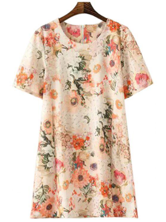 online Short Sleeve Flower Print A-Line Dress - COLORMIX S