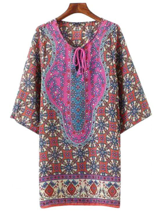 shops Retro Print 3/4 Sleeve Lace-Up Dress - DARK RED S
