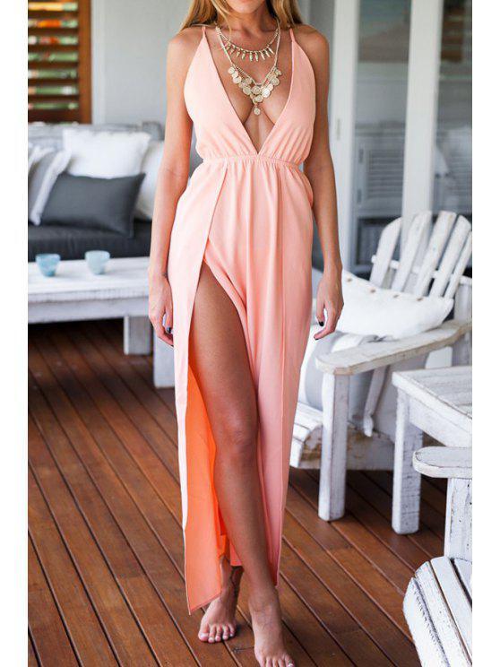 trendy Cross Solid Color Backless High Slit Dress - ORANGEPINK M