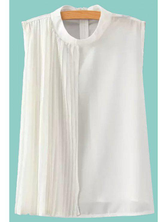 chic Pleated Stand Neck Sleeveless Blouse - WHITE S