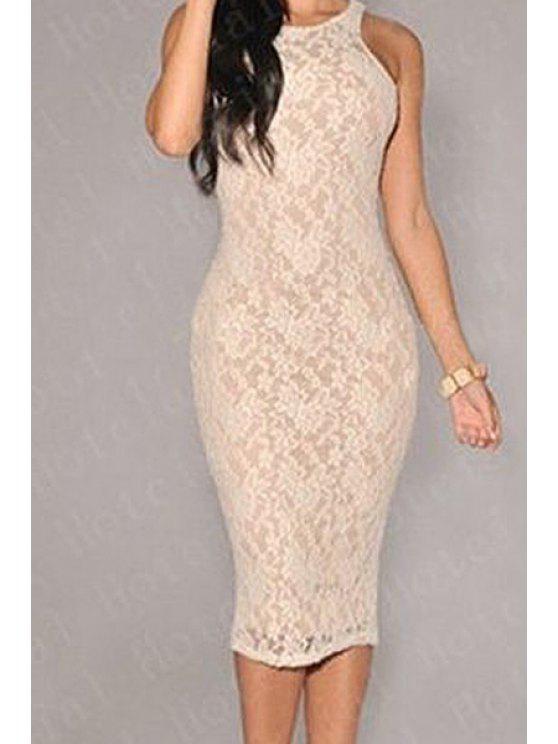 latest Sleeveless Lace Bodycon Dress - WHITE M