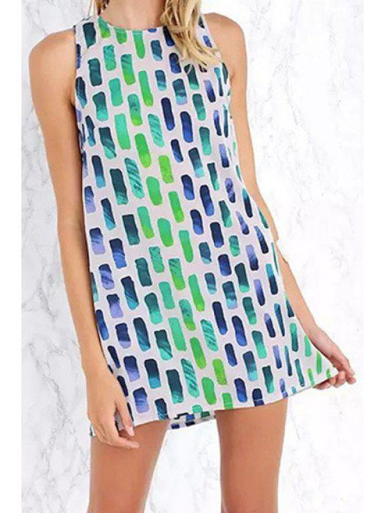 affordable Geometric Print Round Neck Sundress - BRIGHT GREEN S