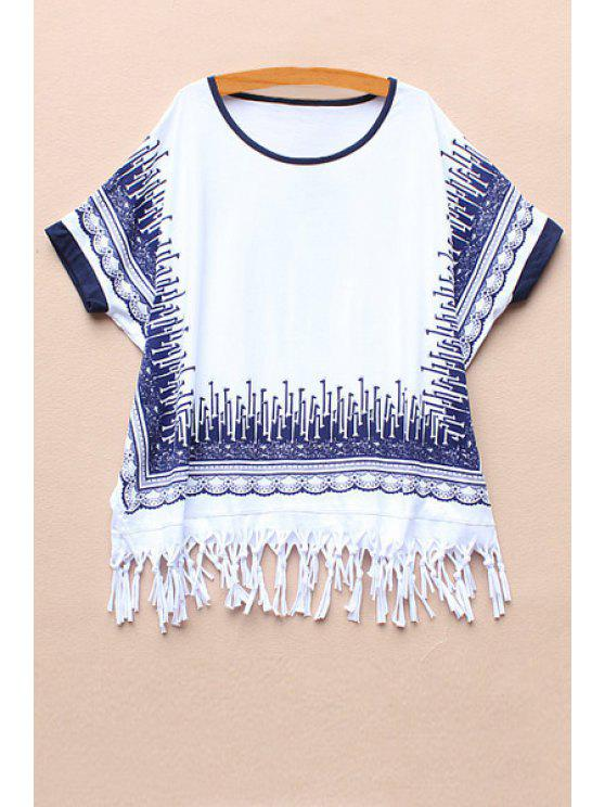 unique Short Sleeve Printed Tassel Spliced T-Shirt - WHITE ONE SIZE(FIT SIZE XS TO M)