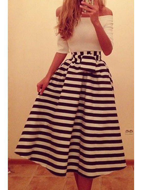 online Stripe Spliced Slash Neck Dress - WHITE M