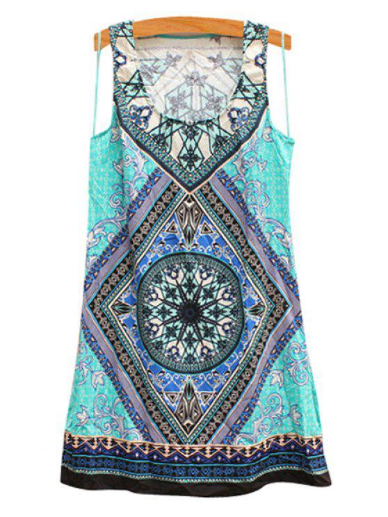 unique Sleeveless Multielement Print Dress - TURQUOISE