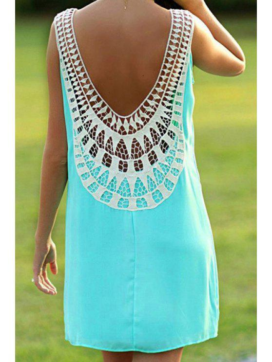 best Crochet Spliced Backless Sundress - GREEN M