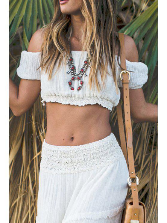 best Slash Neck Solid Color Short Sleeve Crop Top - WHITE S