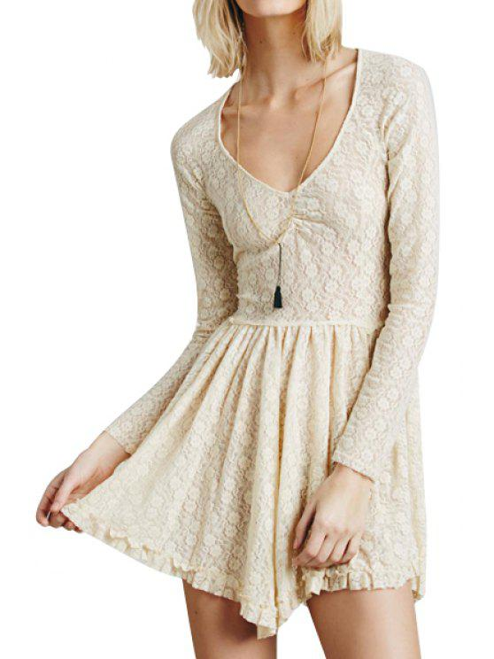 shop Long Sleeve Solid Color See-Through Lace Dress - APRICOT S
