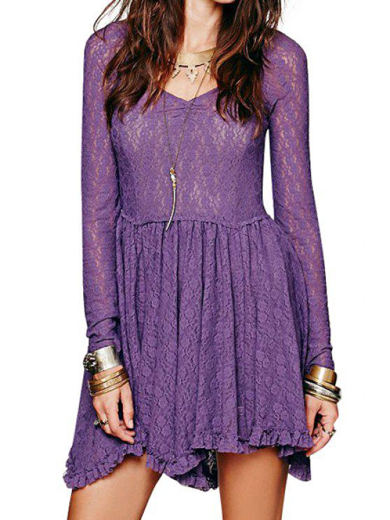 chic Long Sleeve Solid Color See-Through Lace Dress - PURPLE M