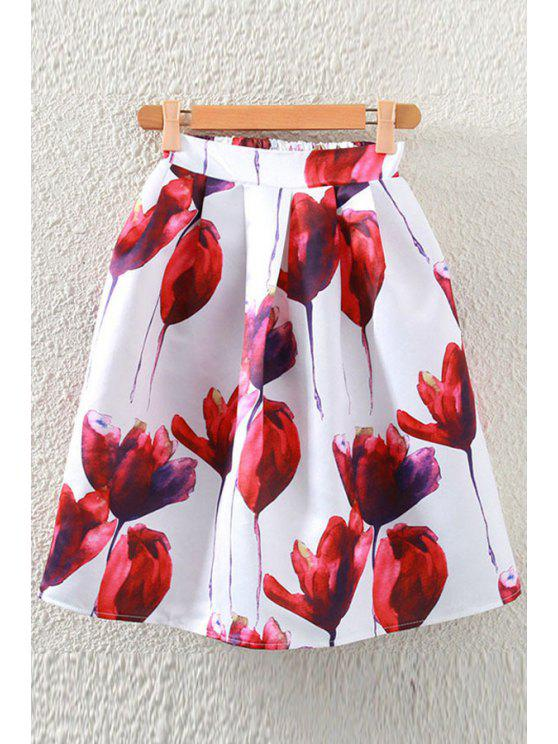 fashion Flower Print A-Line Midi Skirt - DEEP RED ONE SIZE(FIT SIZE XS TO M)
