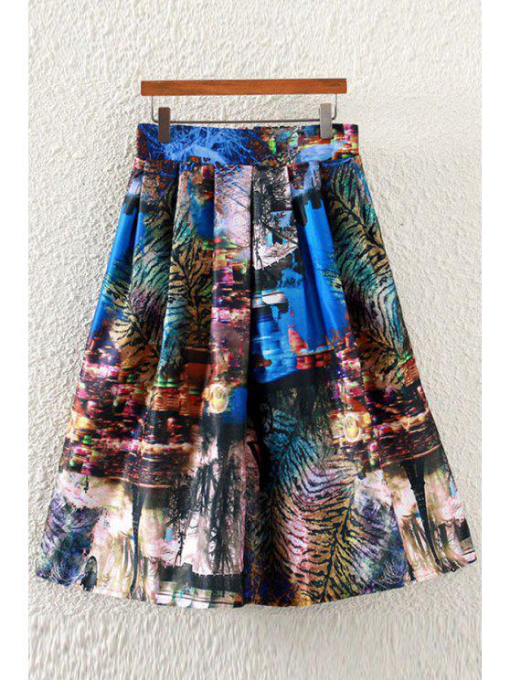 fancy Scenery Print A-Line Skirt - COLORMIX ONE SIZE(FIT SIZE XS TO M)