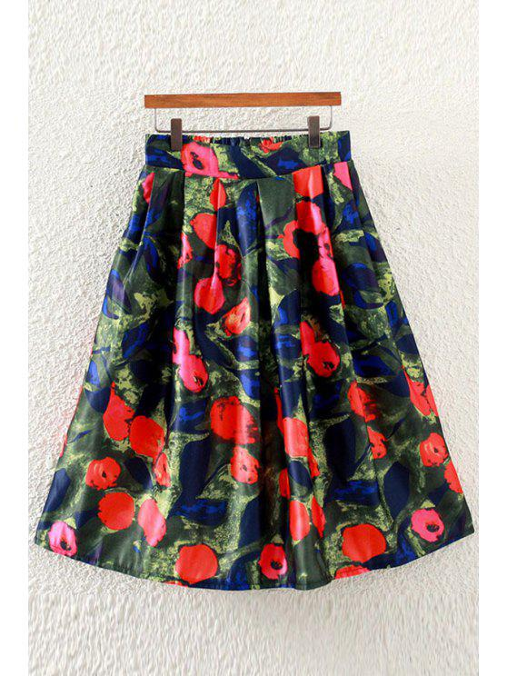 unique Rose Print High Waisted A-Line Skirt - RED ONE SIZE(FIT SIZE XS TO M)