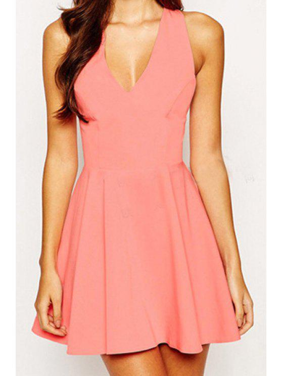 trendy Solid Color Backless Plunging Neck Dress - WATERMELON RED M