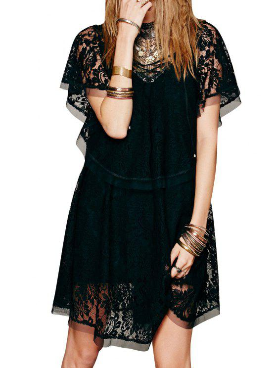 chic See-Through Crochet Flower Lace Dress - BLACK S