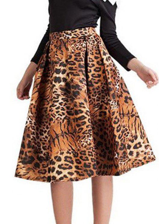 women's Tiger Print High Waisted A-Line Skirt - TIGER PRINT M