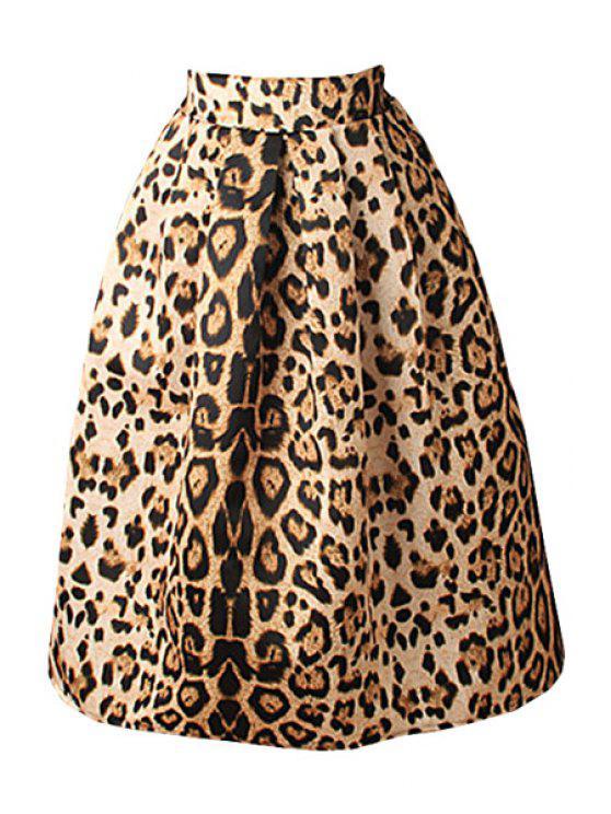 Leopard Print High Waisted A-Line Skirt LEOPARD: Skirts S ...