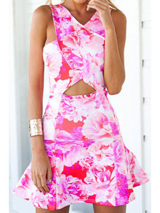 shops Floral Print Sleeveless Floucing Dress - RED S