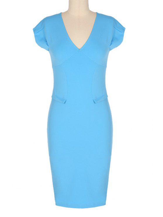 outfit V-Neck Solid Color Short Sleeve Midi Dress - LAKE BLUE M