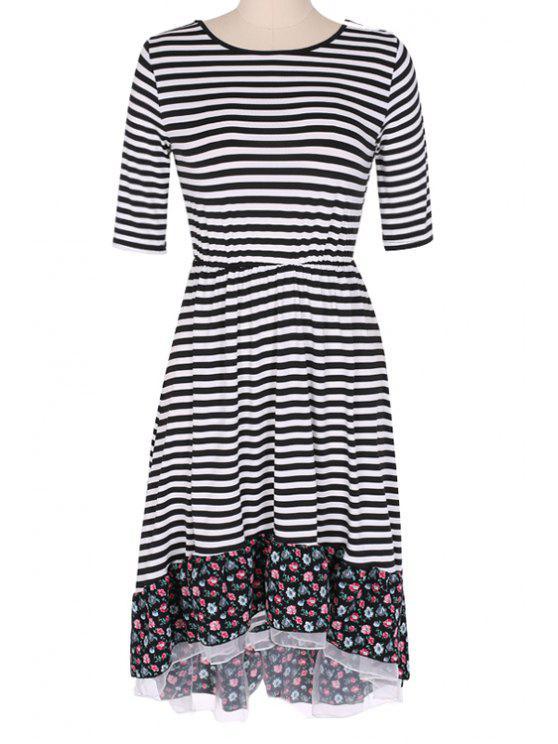affordable Floral Print Splicing Stripe Half Sleeve Dress - BLUE S