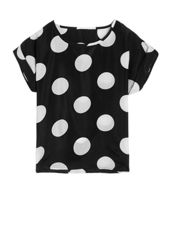 outfits Color Block Polka Dot Short Sleeve T-Shirt - BLACK ONE SIZE(FIT SIZE XS TO M)