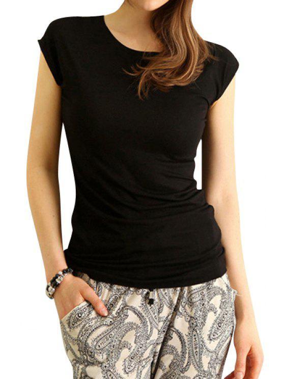 trendy Solid Color Back Openwork Short Sleeve T-Shirt - BLACK M