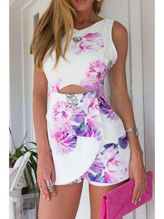 womens Floral Print Hollow Out Sleeveless Romper - WHITE S