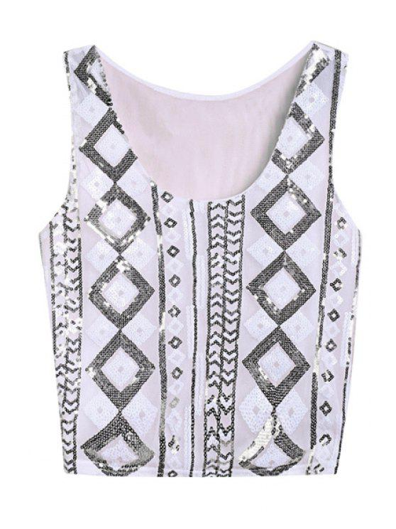 outfits Argyle Pattern Sequins Sleeveless Tank Top - WHITE ONE SIZE(FIT SIZE XS TO M)