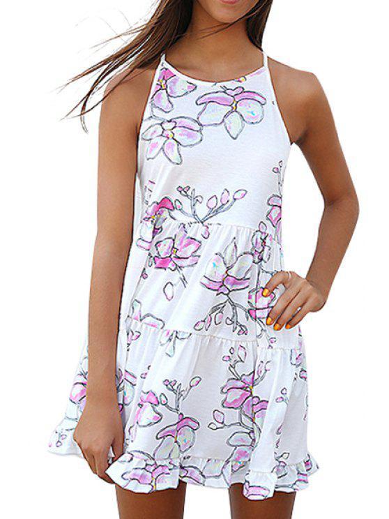 womens Spaghetti Strap Cross Floral Print Backless Dress - WHITE S