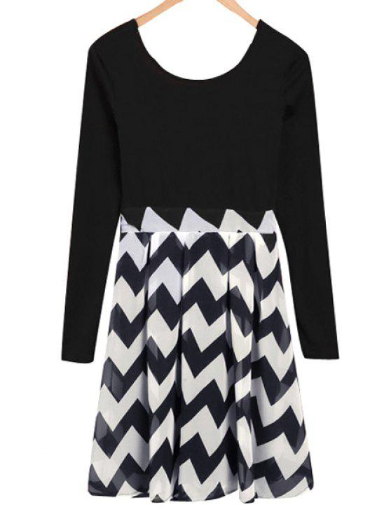 hot Zig Zag Splicing Long Sleeve Dress - AS THE PICTURE S