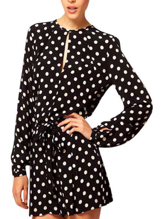 shop Polka Dot Tie-Up Slit Long Sleeve Romper - BLACK M