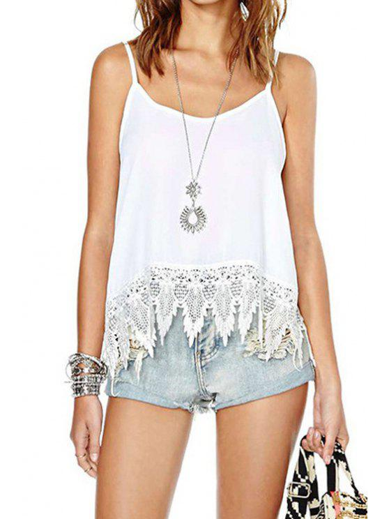 latest Lace Splicing Solid Color Backless Tank Top - WHITE M