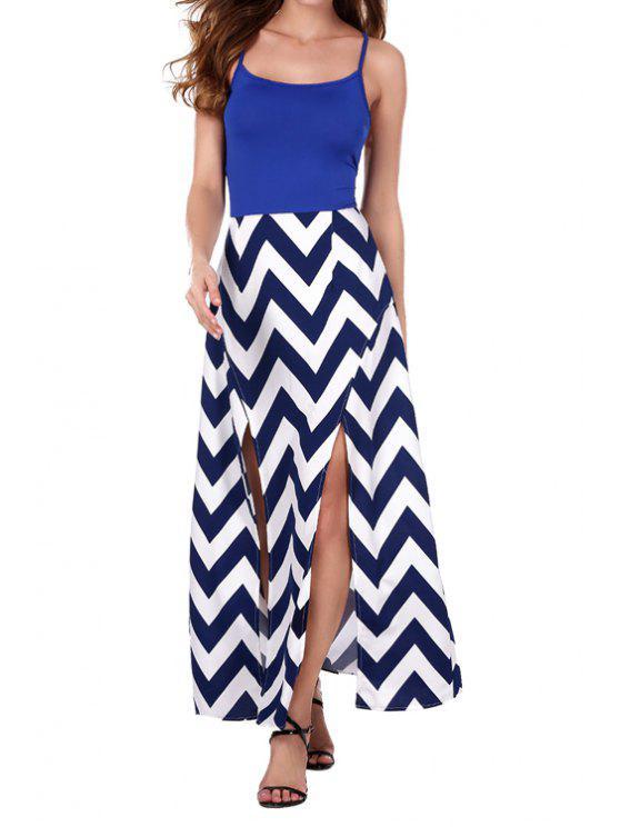 womens Blue Splicing Zig Zag High Slit Maxi Dress - BLUE S