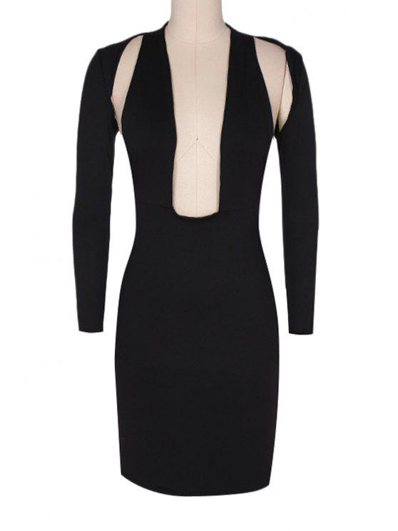fashion Backless Solid Color Long Sleeve Midi Dress - BLACK M
