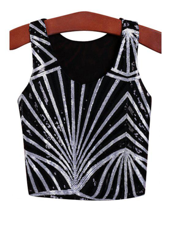 sale Scoop Neck Stripe Sequins Tank Top - BLACK ONE SIZE(FIT SIZE XS TO M)